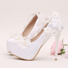 Women's Leatherette Stiletto Heel Closed Toe Platform Pumps With Rhinestone Flower