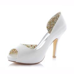 Women's Satin Stiletto Heel Peep Toe Pumps