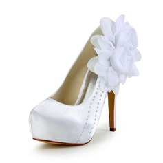 Women's Satin Stiletto Heel Closed Toe Platform Pumps With Satin Flower