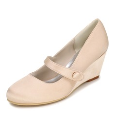 Women's Satin Wedge Heel Closed Toe Pumps Wedges With Button