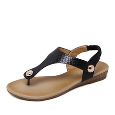 Femmes Similicuir Talon plat Sandales avec Rivet Élastique chaussures