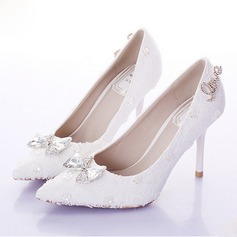 Women's Leatherette Stiletto Heel Closed Toe Pumps With Bowknot Rhinestone Flower Crystal