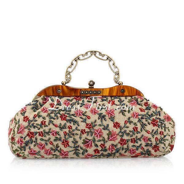 anh nger stoff mit perlen verziert blumenmuster handtaschen 012025173 dressfirst. Black Bedroom Furniture Sets. Home Design Ideas
