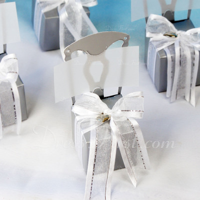 Chair Design Cubic Card Paper Favor Boxes With Ribbons (Set of 12) (050005517)